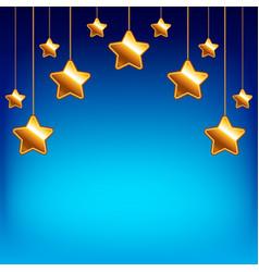 cartoon stars on blue sky background vector image vector image