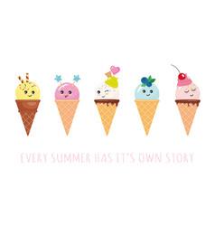 kawaii ice cream cone characters cute cartoons vector image vector image