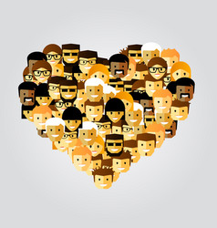many people in the form of heart vector image