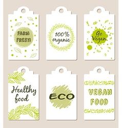 Set of green vegetarian food badges vector image vector image