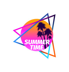80s retro sci-fi palm trees on a sunset isolated vector image