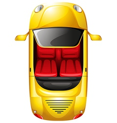 A topview of a yellow car vector