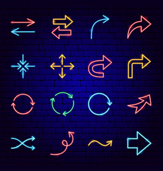 arrow signs neon icons vector image