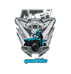 Atv quad bike with snake in background vector