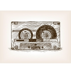 Audio cassette sketch style vector image