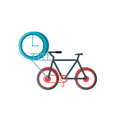 bicycle vehicle with clock time vector image