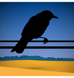Bird Silhouette with Abstract Desert Scene on vector