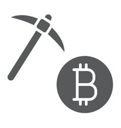 bitcoin mining glyph icon money and finance vector image