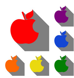 Bite apple sign set of red orange yellow green vector