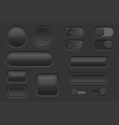 Black web interface buttons set 3d icons vector