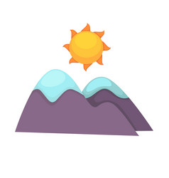 Cartoon mountains with snowy top and big sun above vector