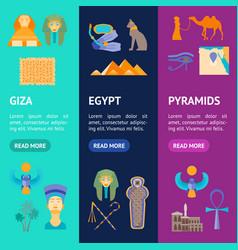 cartoon symbol of egypt banner vecrtical set vector image