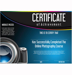 certificate of achievement for online photography vector image