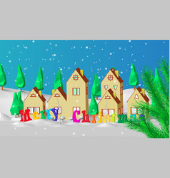 christmas card low polygonal model of houses the vector image
