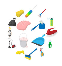 cleaning cartoon icons vector image