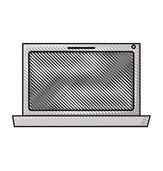 Colored pencil silhouette of laptop computer vector