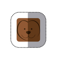 Colorful face sticker of monkey face in square vector
