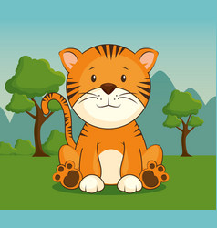 cute adorable tiger animal cartoon vector image