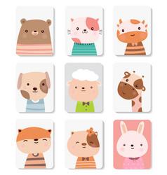 Cute baby animal cartoon for printingcard vector