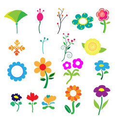 cute colorful flower on white background vector image