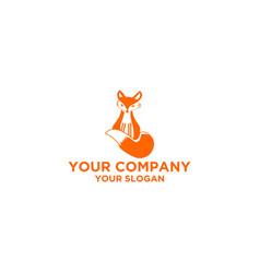 cute fox logo design vector image