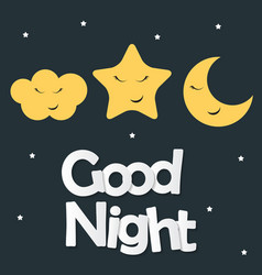 cute good night kids background vector image