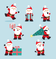 cute little santa claus christmas set 3 vector image