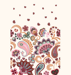damask style paisley floral vertical seamless vector image