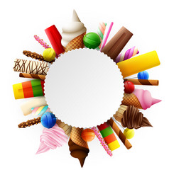 different sweet food round frame vector image