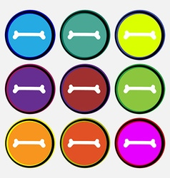Dog bone icon sign Nine multi colored round vector image