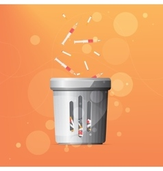 Dustbin for drugs and cigarettes vector
