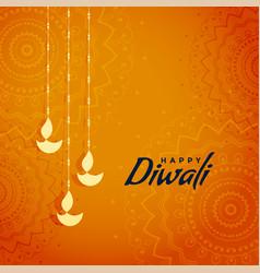 elegant traditional diwali festival greeting vector image