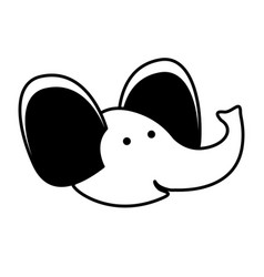 Elephant cartoon head in black sections silhouette vector