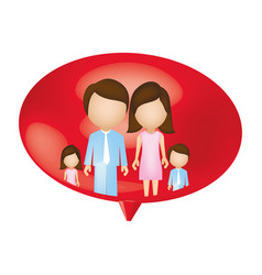 Family together inside of bubble vector