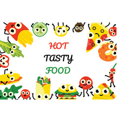 Fast food banner with border vector