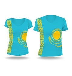 Flag shirt design of Kazakhstan vector