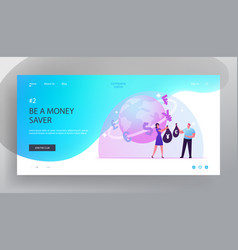 Foreign currency exchange website landing page vector