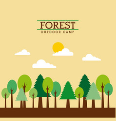 Forest outdoor camp landscape natural mountain vector