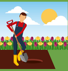 Gardener digging a hole with shovel in the garden vector