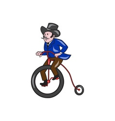 Gentleman Riding Penny-farthing Cartoon vector