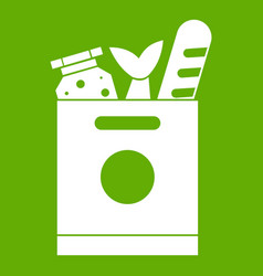 grocery bag with food icon green vector image