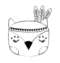 Grunge cute owl head animal with feathers vector