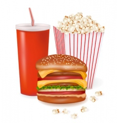 hamburger and popcorn vector image