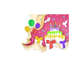 Happy birthday background paper cut vector