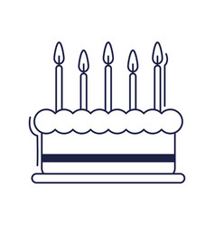 Happy birthday sweet cake with burning candles vector
