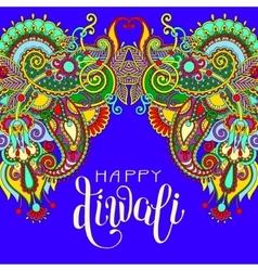 Happy Deepawali greeting card with hand written vector image