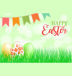 Happy easter card banner flyer invitation vector