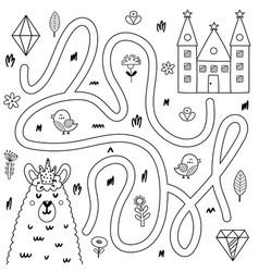 Help king llama get to his castle black vector