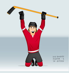 Ice hockey player standing on his knees vector