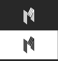 isometric letter m logo 3d lines geometric shape vector image
